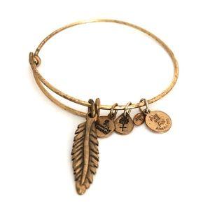 Alex And Ani Bird Feather Brass Bangle Bracelet